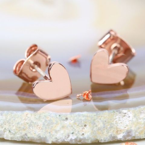 SHINY HEART EARRINGS ROSE GOLD